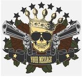 Fotografia emblema del vettore con un teschio e pistole