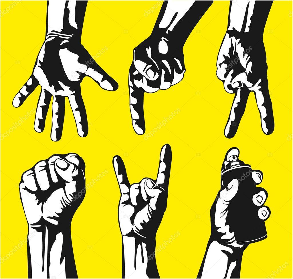 Set of gestures of hands in a vector