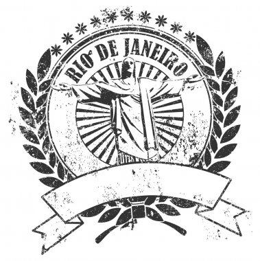Rubber stamp with the image of the Christ and an inscription of Rio de Janeiro and an empty place for the text clip art vector