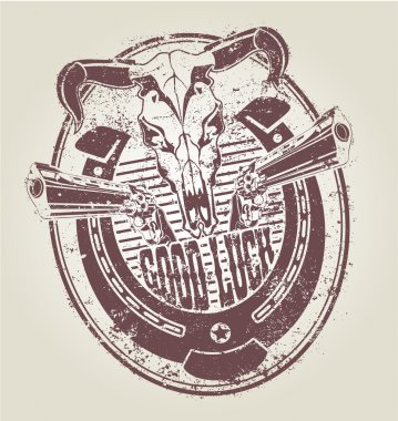 Rubber stamp with a horseshoe revolvers and a skull of a bull. vector