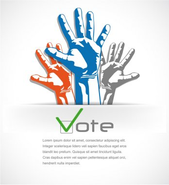Colorful hands raised up the vote. vector illustration