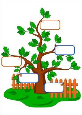Cartoon oak tree and blank cards.