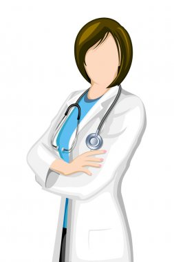 Illustration of female doctor with stethoscope on isolated background clip art vector