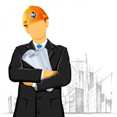 Illustration of engineer with blueprint on under construction site stock vector