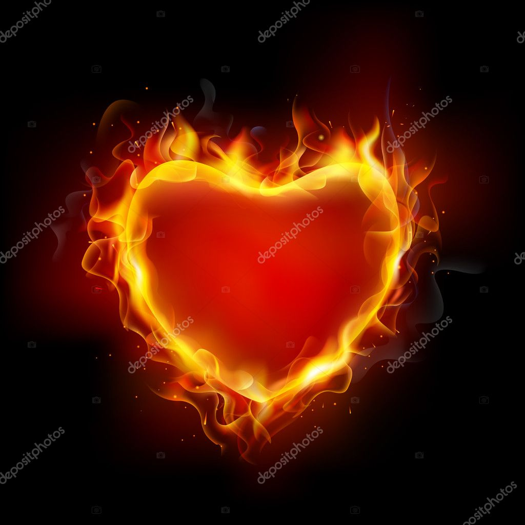 Illustration of burning flame around heart on dark background clipart vector