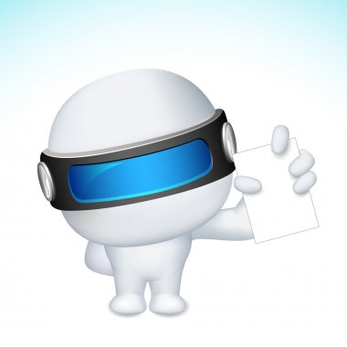 3d Business Man in vector showing Blank Card