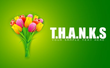 Illustration of bunch of colorful tulip on thanks background clip art vector