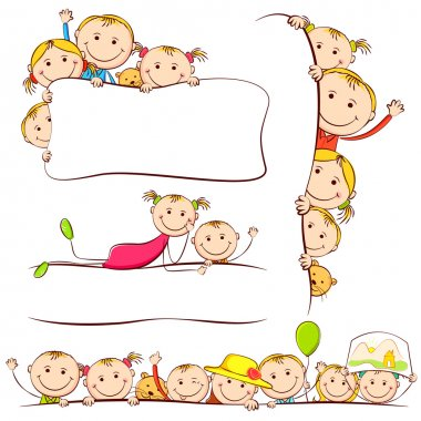 Illustration of many kids peeping behind placard stock vector