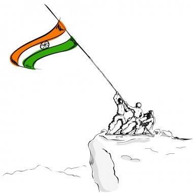 Soldier raising Indian Flag
