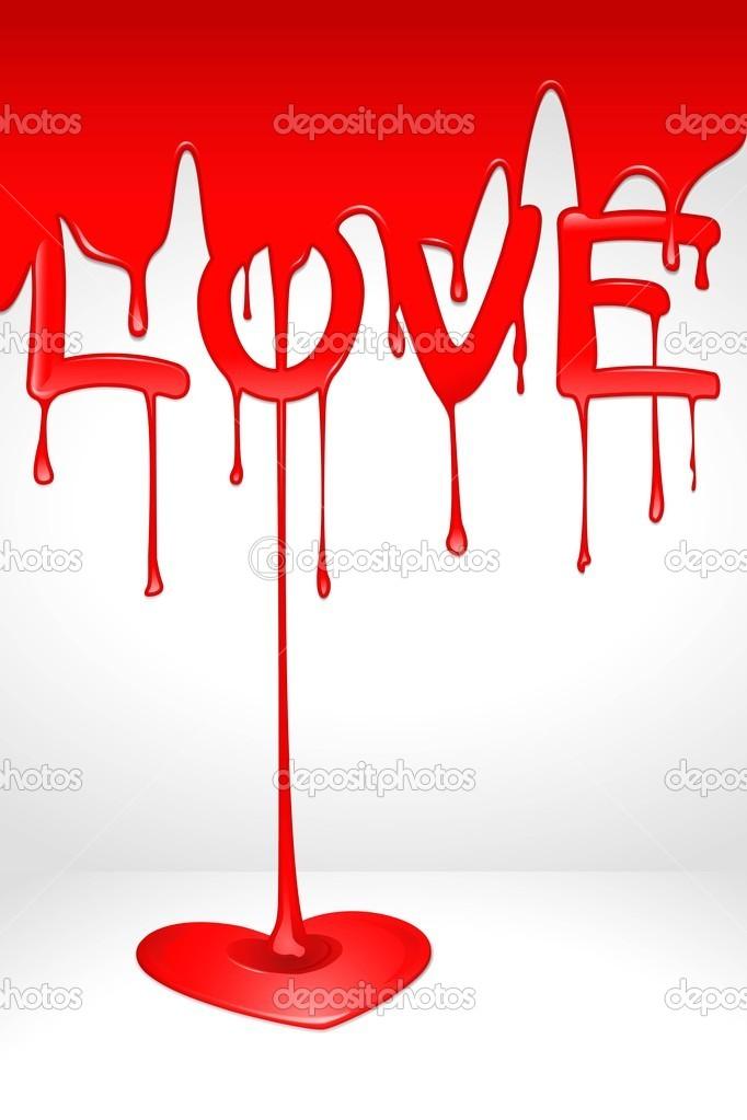 Illustration of love dripping and forming heart clipart vector
