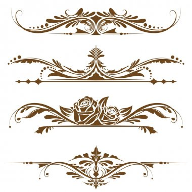 Illustration of set of vintage design elements for page border stock vector