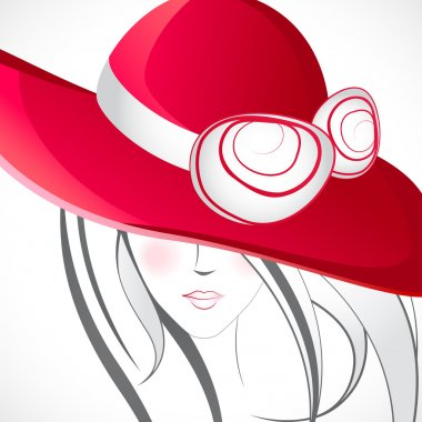 Illustration of lady in line art style with stylish heart stock vector