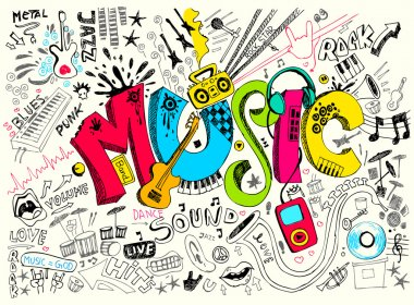 Illustration of music background in doodle style clip art vector