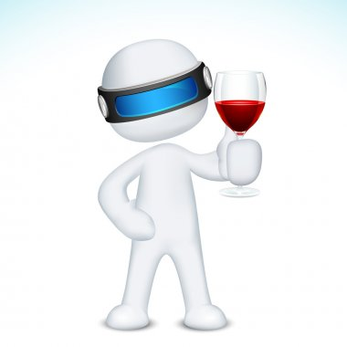 3d Man with Wine Glass