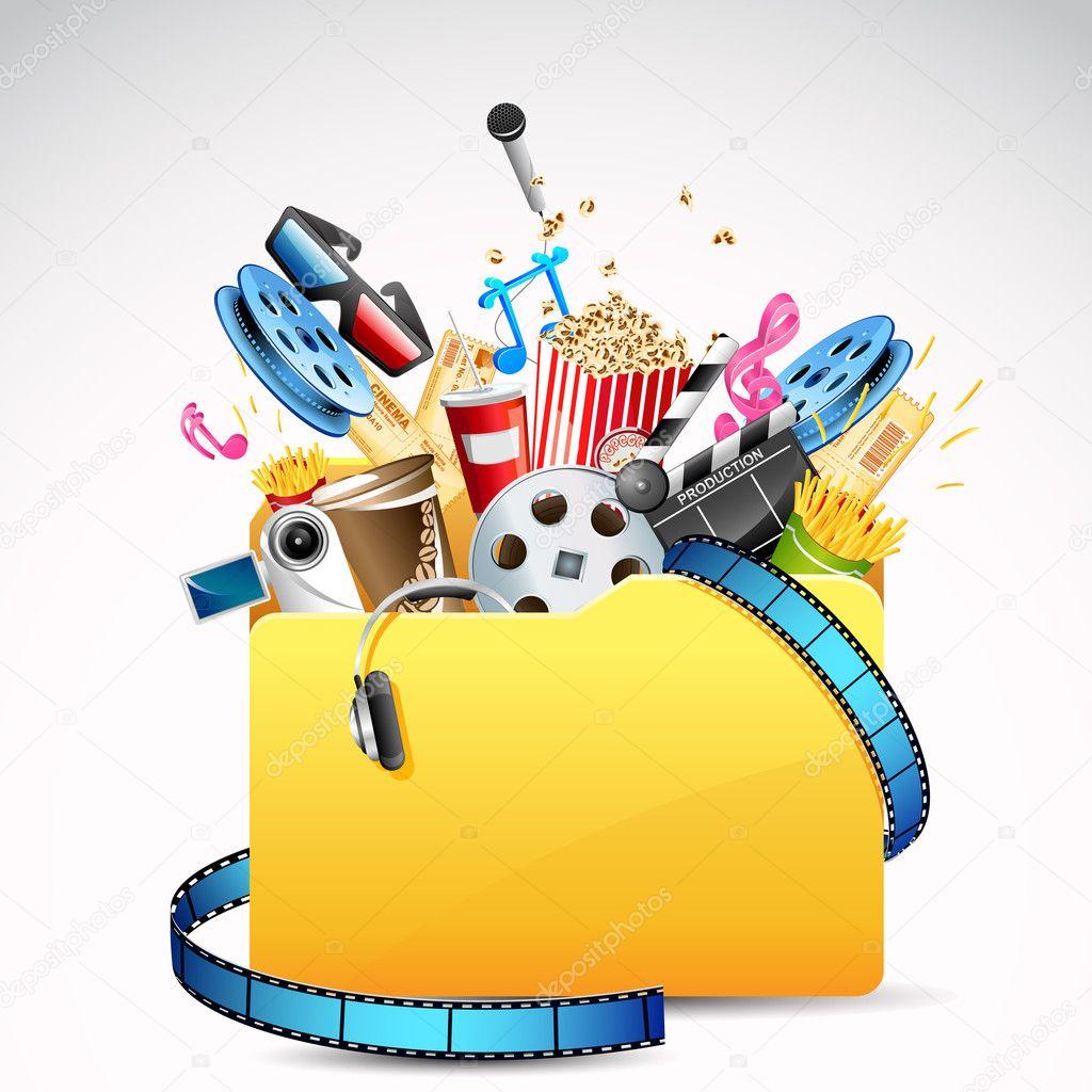 Illustration of folder full of entertainment and cinema object stock vector