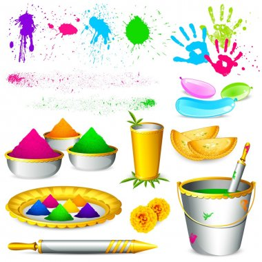 Illustration of set of holi element with colors on white background stock vector