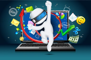 3d Business Man coming out of Laptop