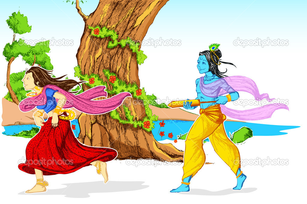Radha Krishna Playing Holi ⬇ Vector Image by © vectomart | Vector Stock  8920960