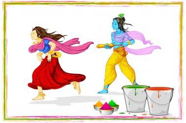 Illustration of Radha and Lord Krishna playing holi stock vector