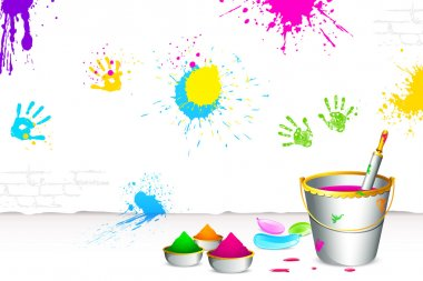 Illustration of colorful spalsh on wall with bucket full of color and pichkari stock vector