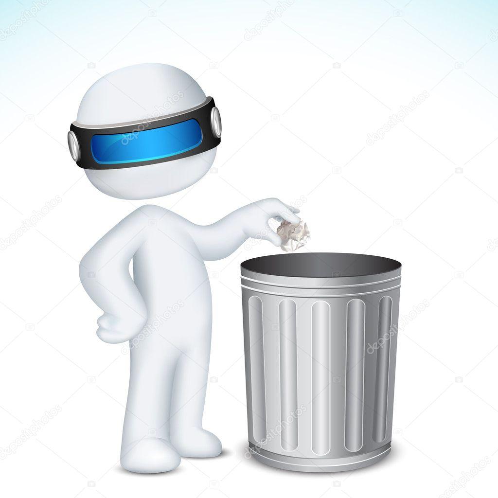 3d Man using Dustbin