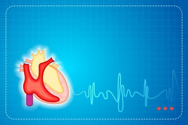Illustration of lifeline coming out of heart on graph background stock vector