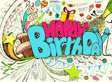 Illustration of colorful happy birthday doodle with party element clip art vector