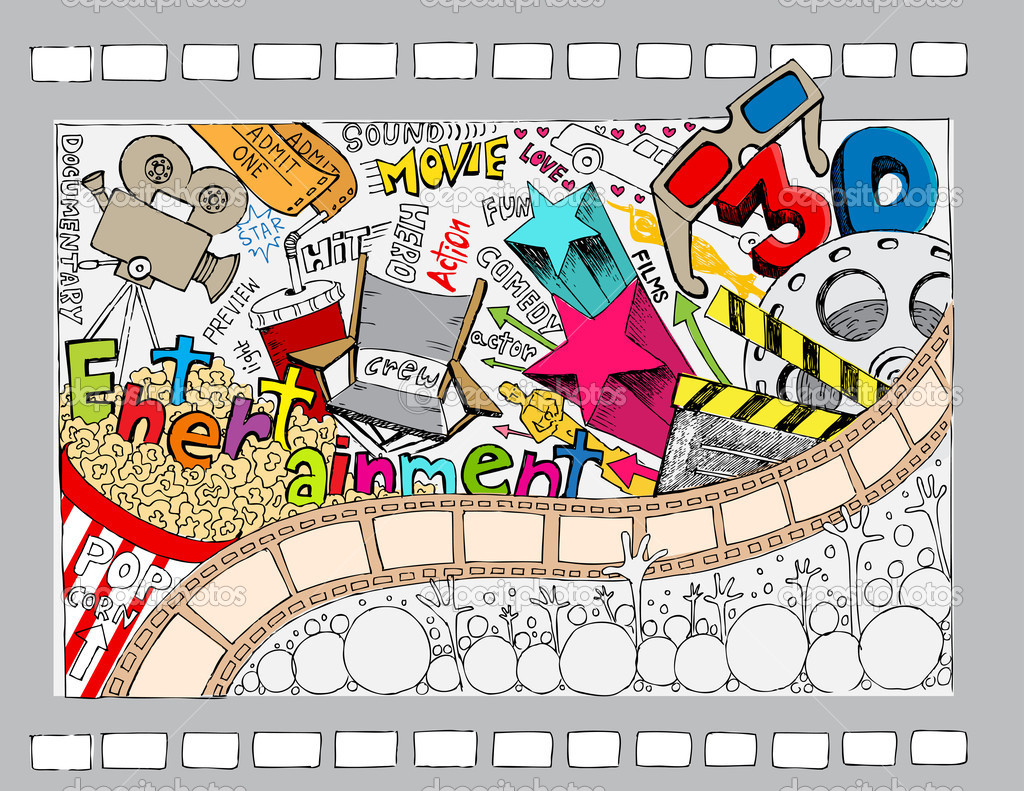 Illustration of different cinema object in doodle style stock vector