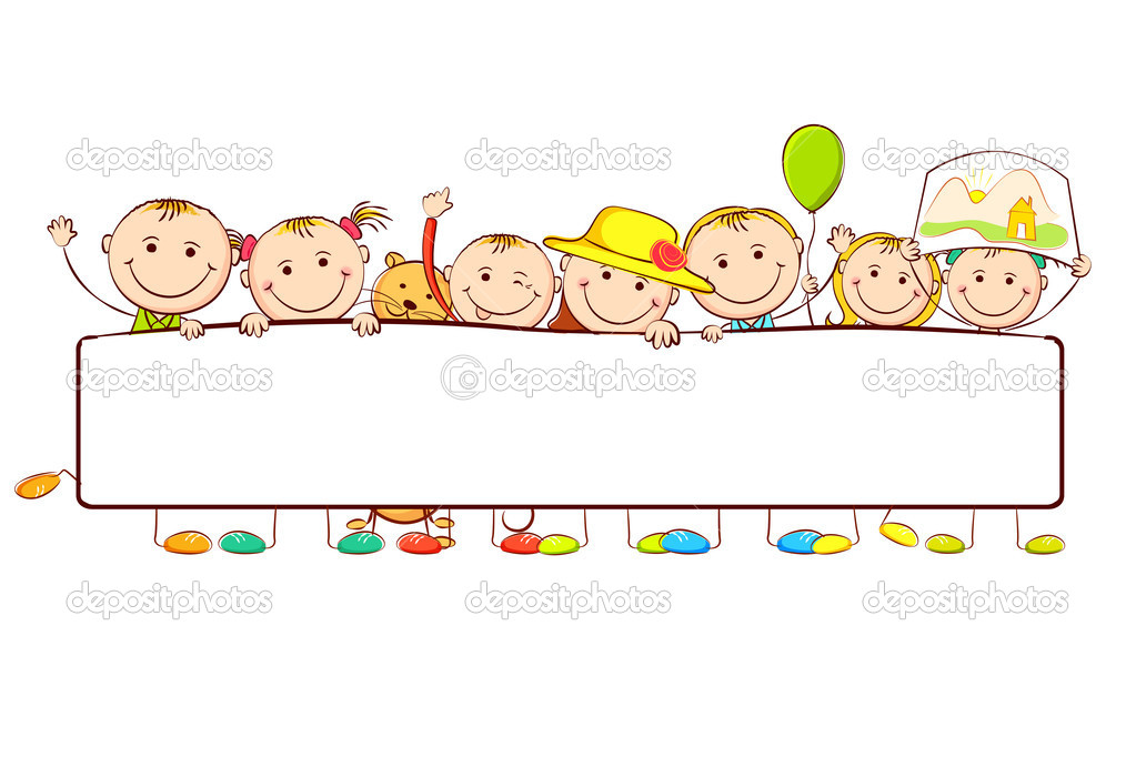 Illustration Of Kids Standing Behid Banner On White Background Vector By Vectomart