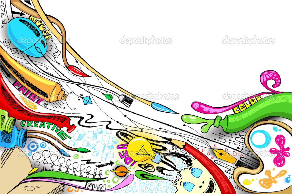 Illustration of craft doodle with painting brush and color stock vector