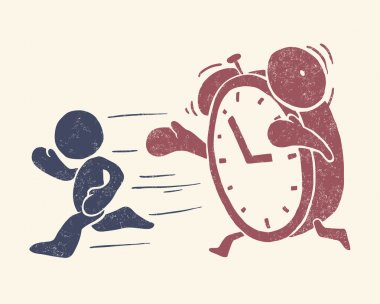 """Vintage conceptual illustration of """"time is running out"""""""