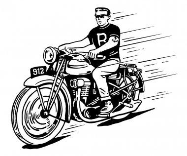 Rebel on vintage motorcycle