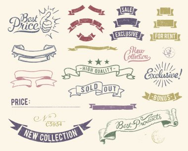 Vintage sale icons set