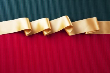 Gold ribbon banner on corrugated cardboard stock vector