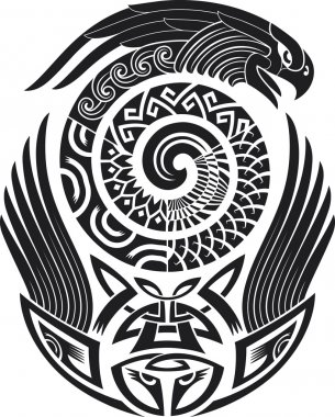 Snake-bird tattoo design