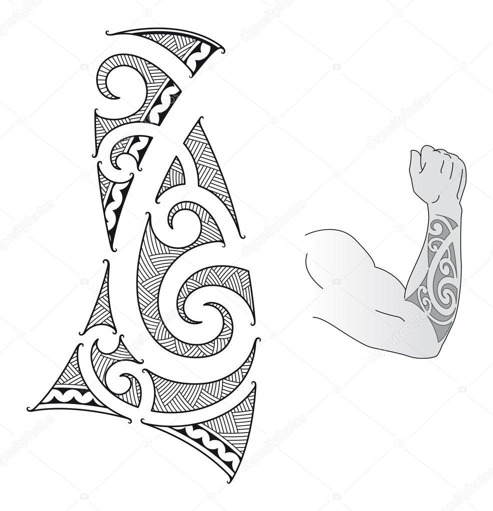 Maori Tattoo Design Stock Photos: Diseño De Tatuaje Maorí
