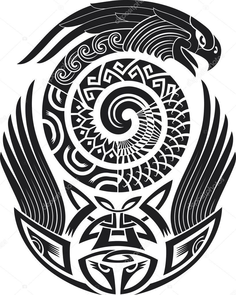 Snake-bird tattoo design