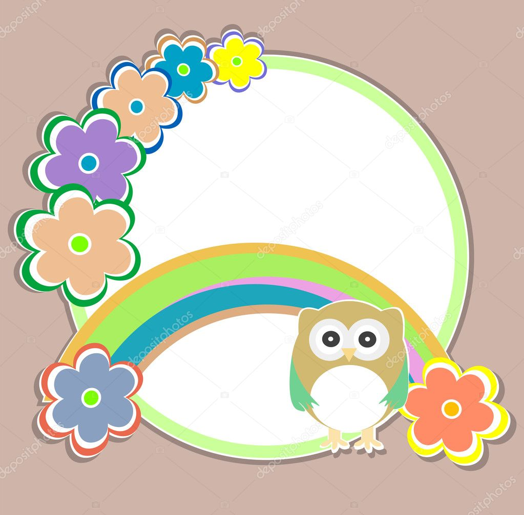 cute kids background with flowers and owls u2014 stock vector