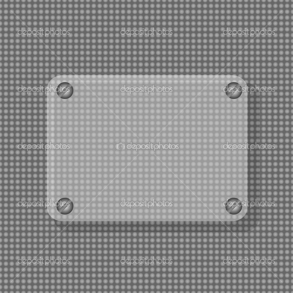 marco convexo de cristal transparente con metal tachuelas fondo ...