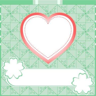 Graffiti love heart. Wedding green vector background