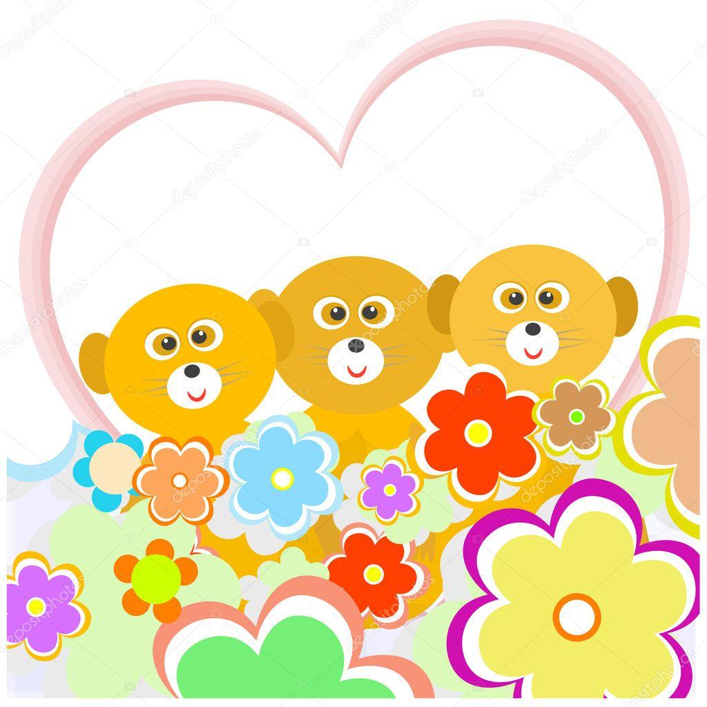 Lémur De Dibujos Animados Con Muchas Flores Y Corazón Archivo
