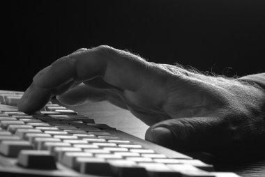 Hand on the keyboard