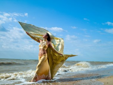 A woman dressed as sirens of the sea