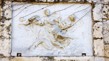 Relief in marble of Zeus.