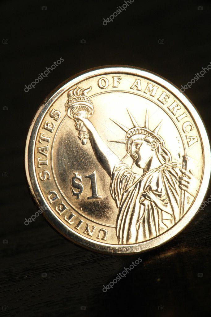 Amerikanisches Geld Ein Dollar Münze Mit Dem Bild Von Der