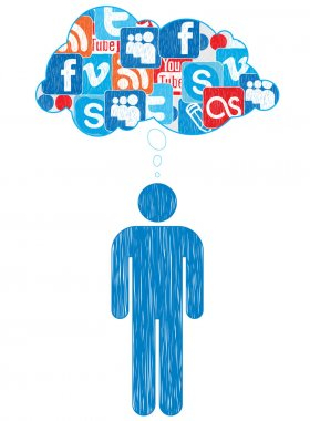 Icon of social networks a person's thoughts