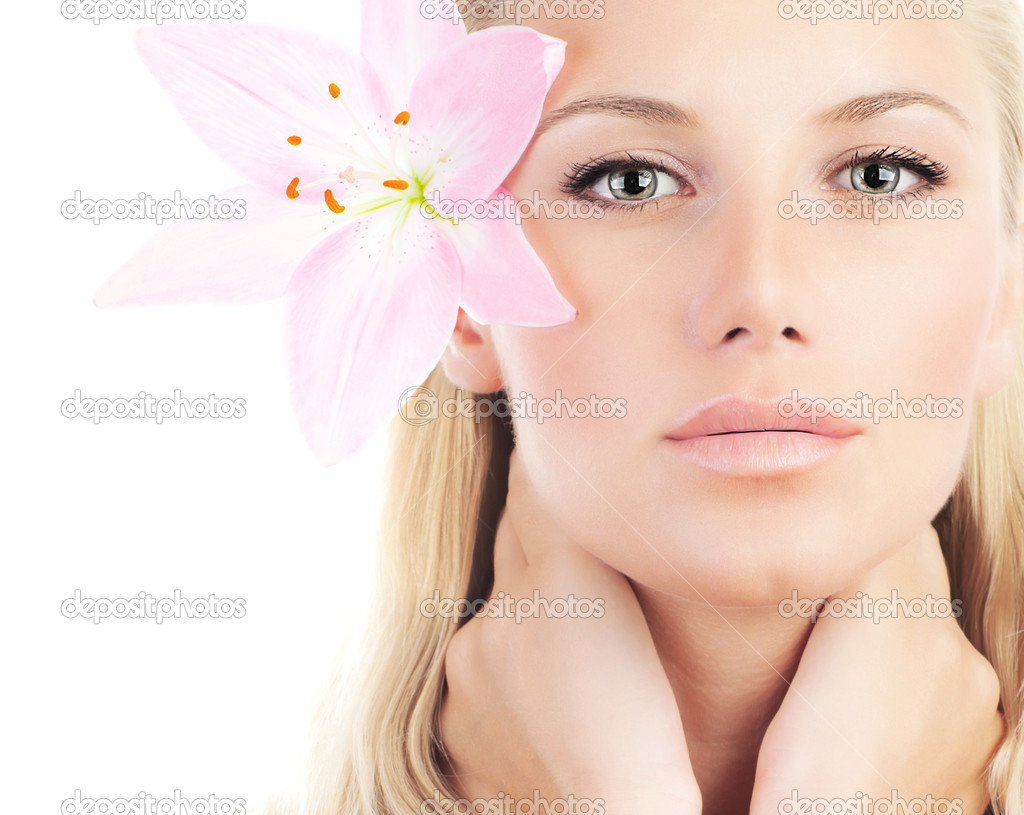 Beautiful woman with lily flower