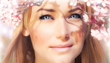 Sensual portrait of a spring woman, beautiful face, female enjoying cherry blossom, dreamy girl with pink fresh flowers outdoor, seasonal nature, tree branch and natural beauty stock vector