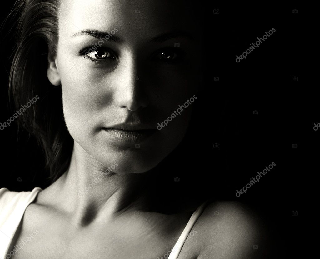 Black and white glamor woman portrait
