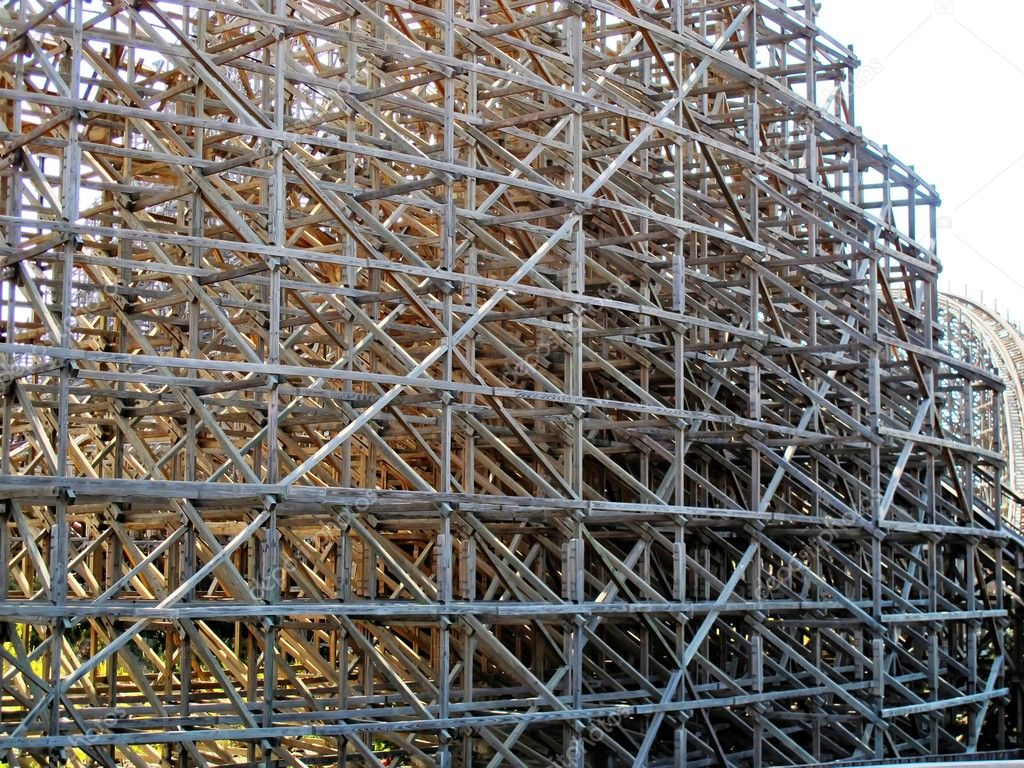 Structure supports and wooden roller coaster stock photo for Structure photography